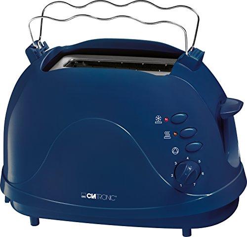 Clatronic TA 3565 2-Scheiben-Toaster, Cool-Touch Gehäuse, integrierter Brötchenaufsatz, Aufwärmfunktion, Auftaufunktion, Schnellstoppfunktion, blau