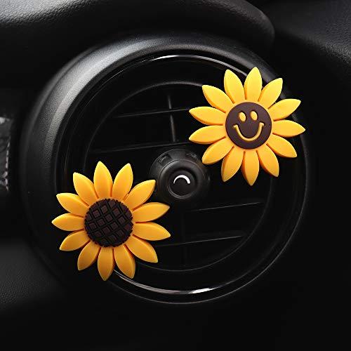 inebiz coche encanto, diseño de girasol, color amarillo para interior de coche Air Vent Decoración Perfume, Creative fragancia ambientador con soporte para recipiente
