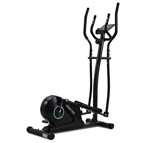 Carsparadisezone Ellittica Fitness Casa Volano 5 kg 8 Resistenza Cross Trainer Magnitica con Display LCD Silenzioso Portata Air Walk150kg Blu