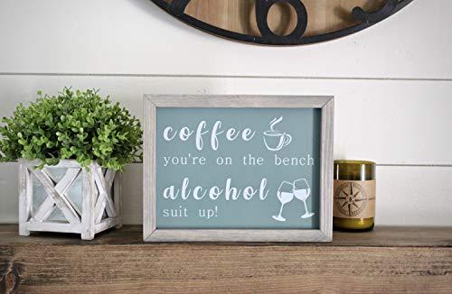 Onbekend Coffee bar teken Koffie youre op de bank Alcohol pak up Wijn bar decor ingelijst hout teken Aangepaste interieur Rustieke Boerderij