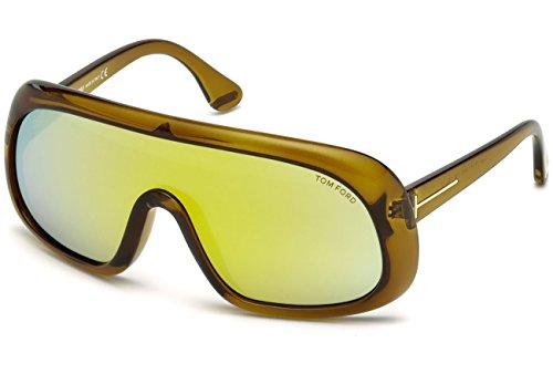 Tom Ford 0471 Sven Transparent Dark Green / Brown Mirror Kunststoffgestell Sonnenbrillen
