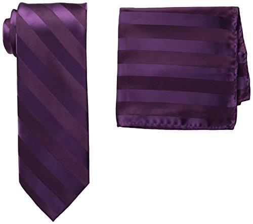 Stacy Adams Men's Solid Woven Formal Stripe Tie Set, Plum, One Size