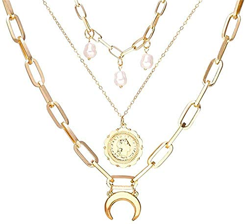 BACKZY MXJP Necklace Multi Layer Lock Portrait Pendants Necklaces for Women Gold Metal Key Heart Necklace Jewelry Gift