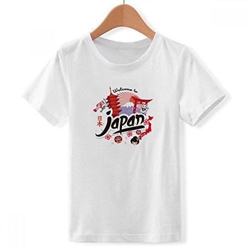 DIYthinker jongens Japan rood zwart kaart Lucky kat crew hals wit T-shirt