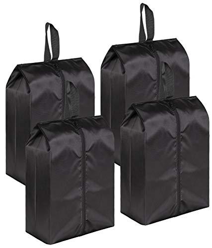 MISSLO Portable Nylon Travel Shoe Bags with Zipper Closure (Pack 4, Black)