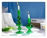 Aiglen 2 Unids/Set Candelabros de Vidrio Verde Candelabros Candelabros de Boda Románticos Decoración del Hogar Usado como Florero Centros de Mesa de Boda (S + L)