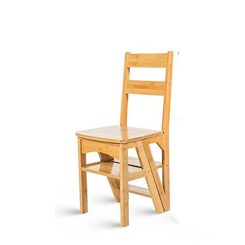 ZZHF Tideng Klapphocker aus Massivholz, Doppel-Klappstuhl, Treppenstühle, Kletterleiter, 4-stufig, Multifunktionsleiter, Hause, 2 Farben optional A