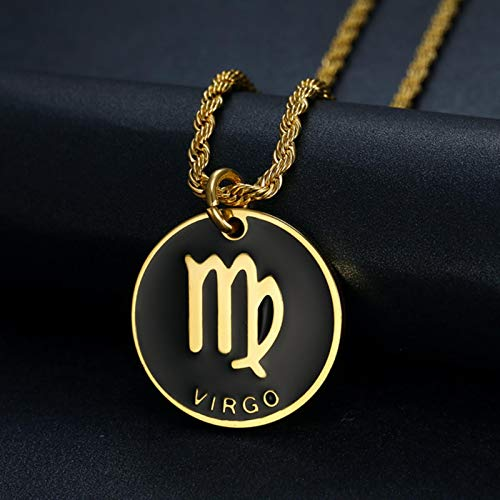 Zodiac Sign 12 Constellation Pendant Necklace for Women Men Gold Color Stainless Steel Fashion Jewelry