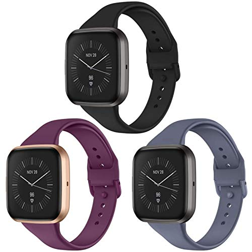 CAVN 3 Pcs Sport Bands Compatible with Fitbit Versa 2 / Versa / Versa Lite, Bands for Women Men Silicone Narrow Watch Strap Replacement Waterproof Breathable Wristband Accessories