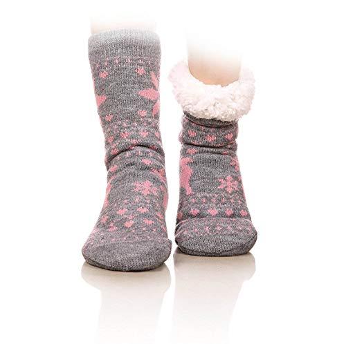 FRALOSHA Slipper Socks Reindeer Home Floor Socks Winter Warm Cozy Fuzzy Lined Socks Super Soft Womens Socks (Pink)