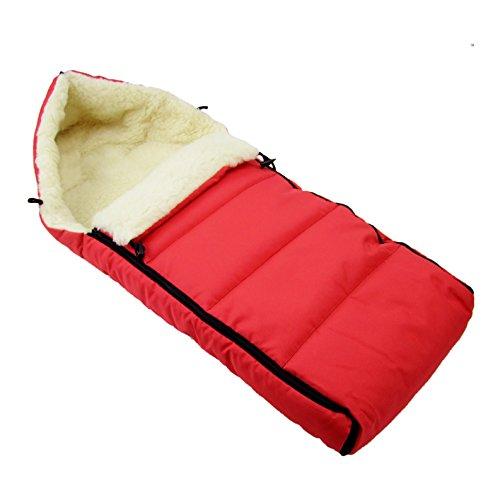 BAMBINIWELT universaler Winterfußsack (108cm), auch geeignet für Babyschale, Kinderwagen, Buggy, aus Wolle UNI liniert ROT