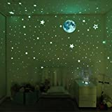 Glow in The Dark Stars and Moon, Realistic No Dots No Squares set. 360 Star Shaped Stickers and Full Moon, Luminous Adhesives for Room, Wall, Bedroom, Light up your Ceiling and Living Room Decoration