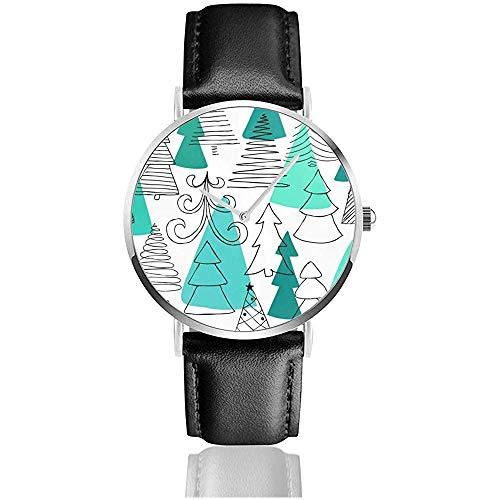 und gezeichnete Skizze Weihnachtsbaum Frauen Herren Mode Uhr PU Lederarmband Casual Armbanduhr Schwarz