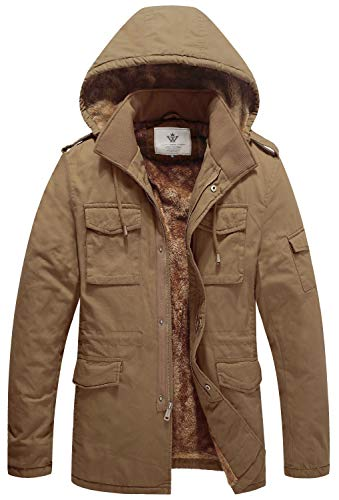 WenVen Men's Winter Fashion Thick Jacket Cotton Travel Clothes Khaki XL