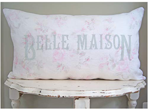 Flowershave357 Shabby Chic Lumbar Pillow Cover Belle Maison French Country Cottage Farmhouse Vintage Grain Sack Farmhouse Decor Rustic Country
