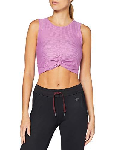 Amazon Marke - AURIQUE Damen kurzes Sport-Top aus Mesh, Lila (Maulbeere), 34, Label:XS