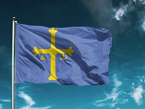 Wayshop | Bandera Asturias | Medidas 150cm x 85 cm | Fácil colocación | Decoración Exteriores (1 Unidad)