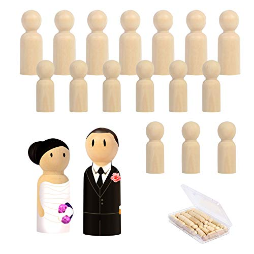 ZERHOK 18Stk Holzfiguren Spielfiguren zum Basteln Spiele DIY Figuren Holz Malerei Puppen für Kinder Mann Frau Junge Mädchen (8Stk-55mm,10Stk-43mm)
