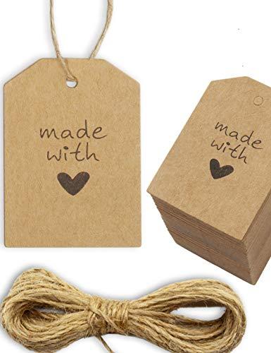 HOMETOOLS.EU® - 100 Kraft-Papier, Natur-Karton, Geschenk-Anhänger, Papier-Anhänger, Papier-Schilder, Geschenk-Label, Papp-Schildchen, 5.5 x 4 cm, mit 10m Jute-Schnur, Made with Love, Herz, natur braun