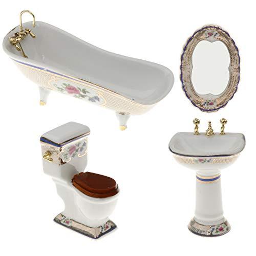 4-teilige 1:12 Puppenhaus Badezimmer Möbel Puppenstube Zubehör (Badewanne + Toilette + Handwaschbecken + Spiegel) - # 3