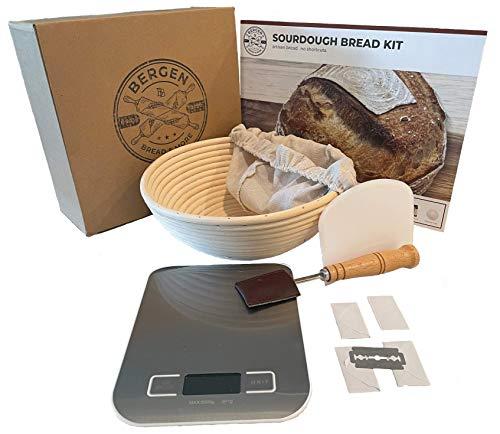 Bergen Bread   Artisan Sourdough Baking Kit - 9in Banneton Proofing Basket, Kitchen Scale, Bread Lame, Dough Scraper + Full Starter & Sourdough Recipe Printed Guide!