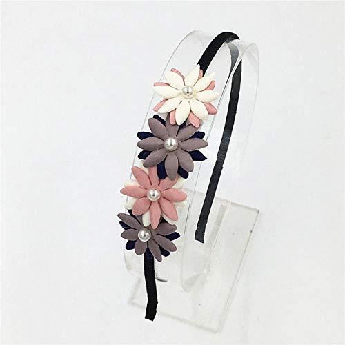 Miner Pearl Flower Hairband Hair Accessories Flower Hairbands Cute Hair Hoop Princess Head Band for Girls Headband Hair Accessories,Pink