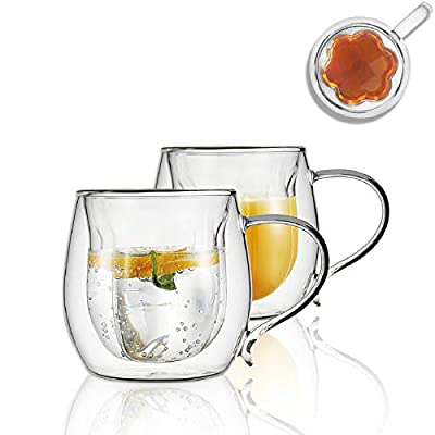 Double Wall Glass Coffee Cups Set of 2 Insulated Glass Coffee Mugs 7.7oz Petal Shape Water Drinking Cups Glass Latte Cups Clear Coffee Cup, Espresso Glass, Glass Tea Cups 230ml Gifts