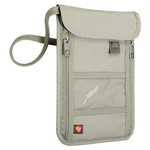 Lewis N. Clark RFID Blocking Stash Wallet, Travel Neck Pouch Passport Holder for Women & Men, Taupe
