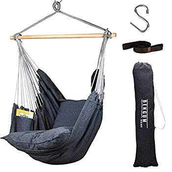 Bengum Hammock Chair Hanging Swing   Indoor and Outdoor Use   Large Swinging Seat Chair for Patio Bedroom or Tree   2-Tone Grey Durable Hammock + 2 Cushions + Side Pocket + Rope + Carrying Bag + S
