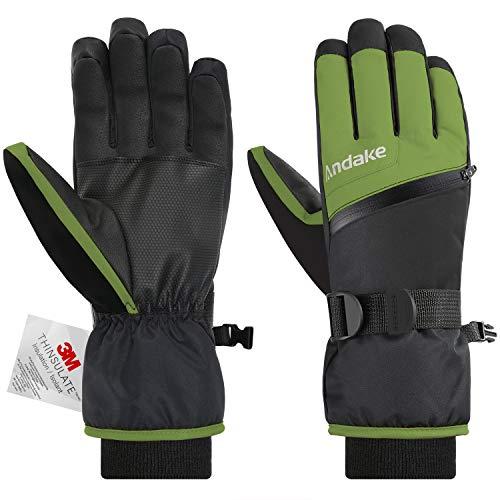 Andake 3M Thinsulate | Touchscreen wählbar | warm wasserdicht Winddicht rutschfest atmungsaktiv | Handschuhe Skihandschuhe Winterhandschuhe Thermohandschuhe Herren Männer, Grün+Touchscreen, M