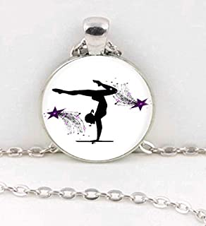 Huangwiglass Pendant, Necklace, Jewelry, Bookmark, Keychain Gymnastic Silhouette with Purple Shooting Stars Head Stand Jewelry/Favor/Gift