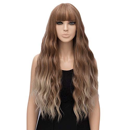 """netgo Women Strawberry Blonde Ombre Light Blonde Wigs with Bangs, Natural Wave Long Curly Heat Resistant synthetic Wig 30"""""""