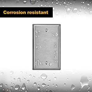 [10 Pack] BESTTEN Stainless Steel No Device Wall Plates, 1 Gang Standard Blank Metal Outlet Covers, Durable Anti-Corrosive Industrial Grade 304SS Materials, Silver