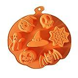 Orapink - Stampi per cioccolatini in silicone per Halloween, zucca, teschio, pipistrello, fantasma, ragno, a forma di cappello da strega, per torte, cioccolatini e caramelle