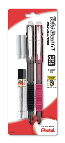 Pentel Twist-Erase GT (0.5mm) Mechanical Pencil, Lead, 2 Erasers, Assorted Barrel Colors, Color May Vary, Pack of 2 (QE205LEBP2M)