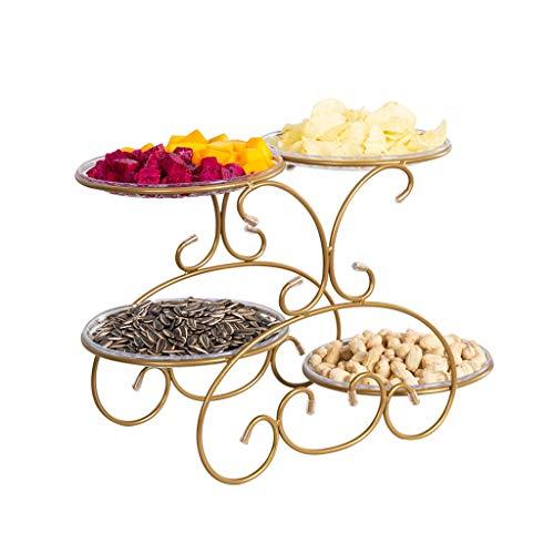 Plato de frutas Cesta de fruta Sala de estar Placa de fruta de metal Personalidad creativa Cesta de frutas de múltiples capas Postre Soporte de exhibición de mesa ( Color : GOLD , Size : 45*22*29CM )