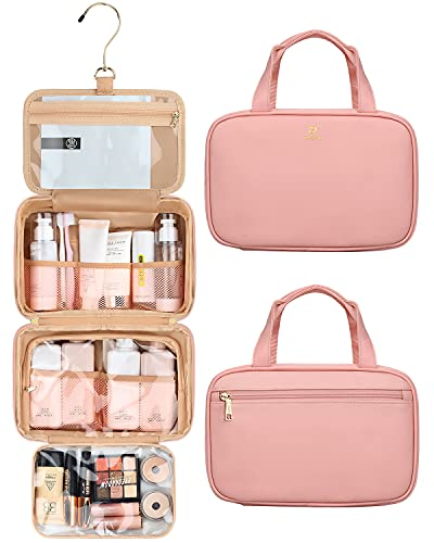 Hanging Toiletry Bag, Toiletry Bags for Traveling Women Travel Cosmetic Organizer Pink Toiletry Bag Leather Waterproof Personal Care Hygiene Purse (Medium, A Pink)