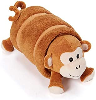 Rollee Pollee Pets Collection, Monkey in a Blanket for Toddlers with Elastic Straps and Extra Top Blanket, Super Soft, Fits on Cots and Mats (Brown Monkey Nap Sac)