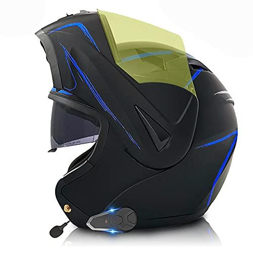 Casco de Motocicleta con Bluetooth Integrado,Cascos Modulares Intercomunicador FM MP3 Incorporado Sistema de comunicación para Casco Modular con Doble Visera Certificado ECE/Dot C,XL=61~62cm