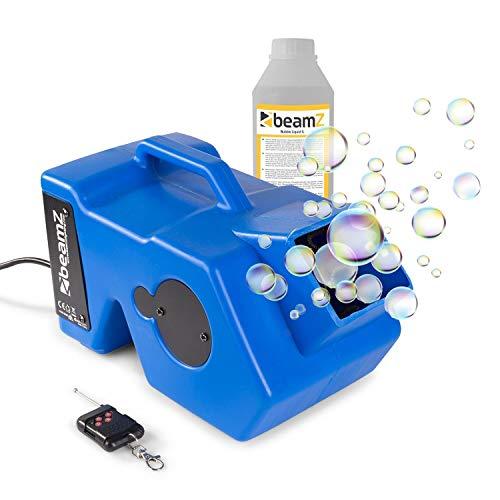 Beamz B1000 - Máquina de pompas de jabón (40 W, Burbujas Grandes, Ventilador Potente, fácil de llenar/vaciar, Material: plástico ABS Ligero, Color Azul)