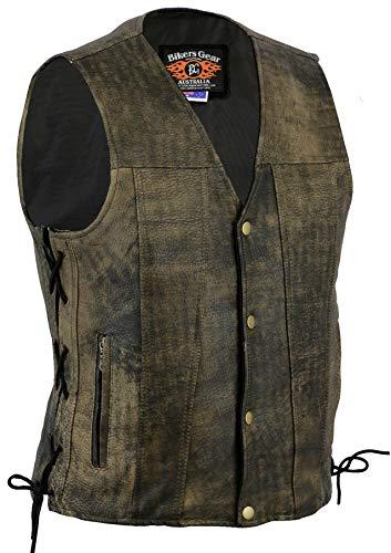 Bikers Gear Australia Limited Premium - Chaleco de piel de vaca de 1,3 mm con cordones ajustables y bolsillos, color marrón envejecido, talla M