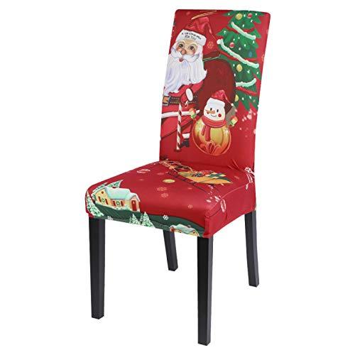 Funda De Silla,1/4/6Pcs Xmas Elastic Dining Room Seat Chair Cubre La Silla De La Silla del Muñeco De Nieve De Navidad Cubierta De Cubierta De Escape para La Decoración De La Fiesta del Banquete De