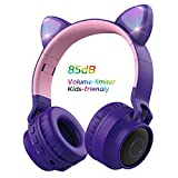 Wireless Bluetooth Kids Headphones, Aresrora Cat Ears Bluetooth Over Ear Headphones 85dB Volume Limiting,LED Lights, FM Radio, TF Card, Aux, Mic for iPhone/iPad/Kindle/Laptop/PC/TV (Purple)