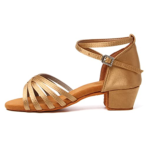 SWDZM Niñas Estándar de Zapatos de baile latino Satén Ballroom modelo-ES-202 Beige 36.5 EU