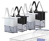 Einkaufswagen-Taschen – Lebensmittel-Organizer – umweltfreundliches Segeltuch Material für Ihren Trolley Small, Medium, Large, Extra Large Grey Black Grey Black