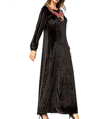 Negro Árabe Musulmán Vestido Maxi - Apliques de la Manga Larga del...