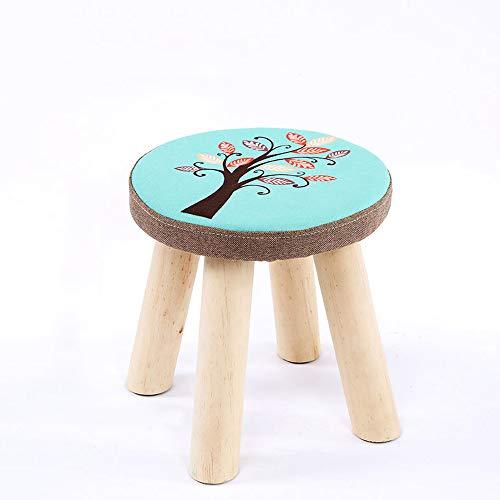 Silla taburete de madera taburete de Flores pie taburete de pie porche sala de muebles de madera natural n¨rdica para El maquillaje de zapatos(30x28cm)