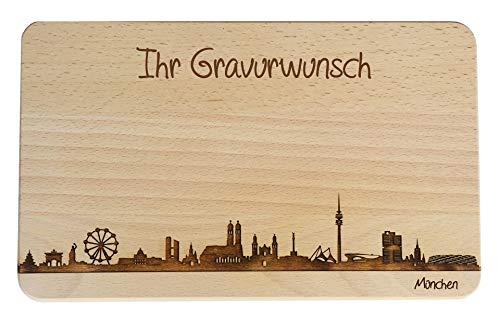 Brotzeitbrett München Skyline   Frühstücksbrettchen aus Buche   Holz Schneidbrett   Geschenk mit Gravur   Bayern   Frühstücksbrett (Standard (22x14x1cm), mit persönlicher Gravur)