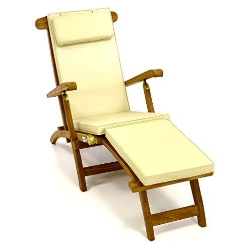 Divero Liegestuhl eleganter Deckchair Florentine Steamer Chair Teakholz Liegenauflage mit Kopfteil Creme mit 4 Segmenten wasserabweisend Bezug abnehmbar mit Reißverschluss