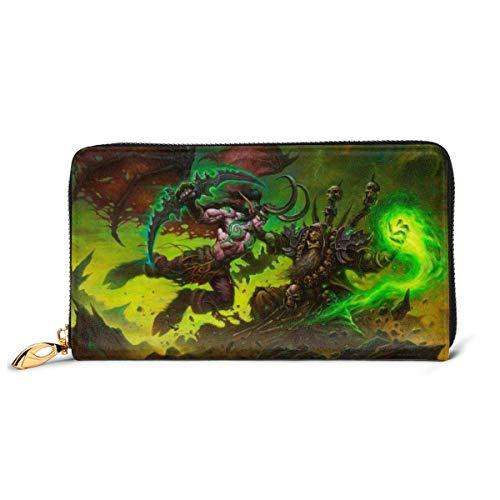AOOEDM RFID Wallet World Warcraft Gul?ˉDan Genuine Leather Wallet Zip Around Card Holder Organizer Clutch Wallet Large Capacity Purse Phone Bag for Men Women